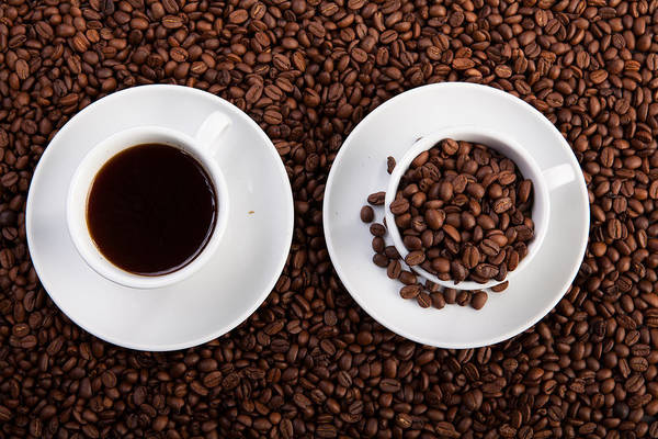 Photograph - Cup Of Coffee And Cup With Coffee Beans by Raimond Klavins