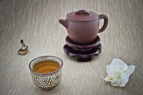 Teapot Photograph - Cup Of Tea, Teapot, Orchid And Small Owl by Maria Melnikova Photography