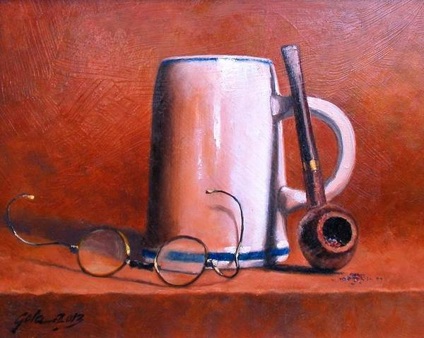 Painting - Cup Pipe And Glasses by Jim Gola