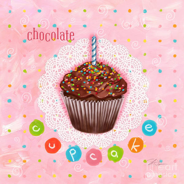Wall Art - Mixed Media - Cupcake-chocolate by Shari Warren