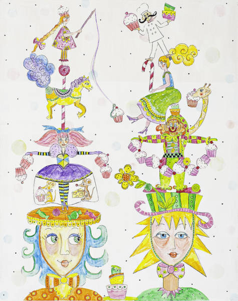 Circus Painting - Cupcake Love by Lynn Colwell