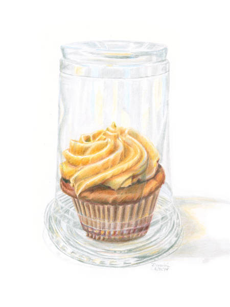Drawing - Cupcake Under Glass by Dominic White