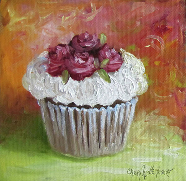 Dessert Painting - Cupcake With Frosting Of Roses by Cheri Wollenberg