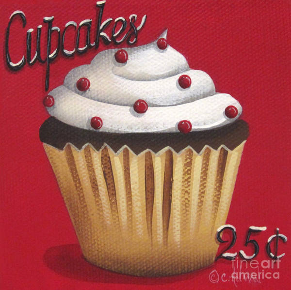 Holman Wall Art - Painting - Cupcakes 25 Cents by Catherine Holman