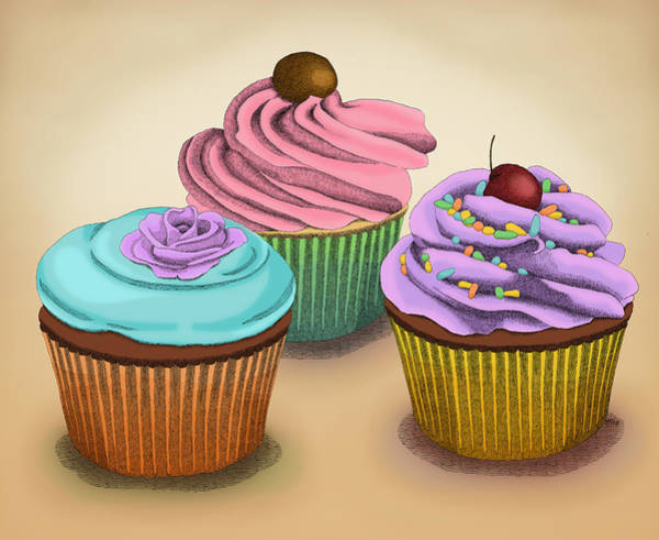 Food Wall Art - Drawing - Cupcakes by Meg Shearer