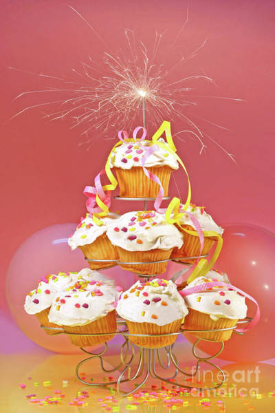 Wall Art - Photograph - Cupcakes With Sparkler On Top  by Sandra Cunningham