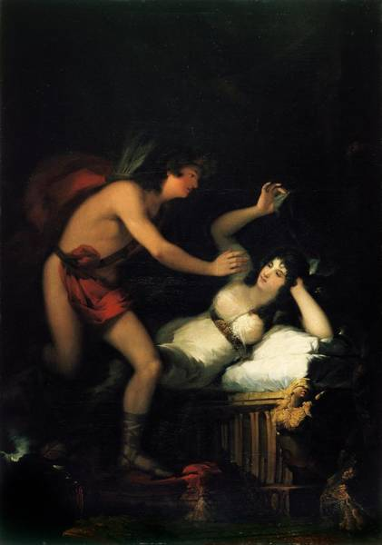 1805 Painting - Cupid And Psyche by Francisco Goya