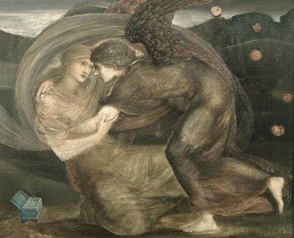 Pre-raphaelite Painting - Cupid And Psyche by Sir Edward Coley Burne-Jones