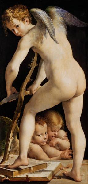 Putto Painting - Cupid Carving A Bow by Parmigianino