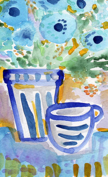 Blue And White Wall Art - Painting - Cups And Flowers-  Watercolor Floral Painting by Linda Woods