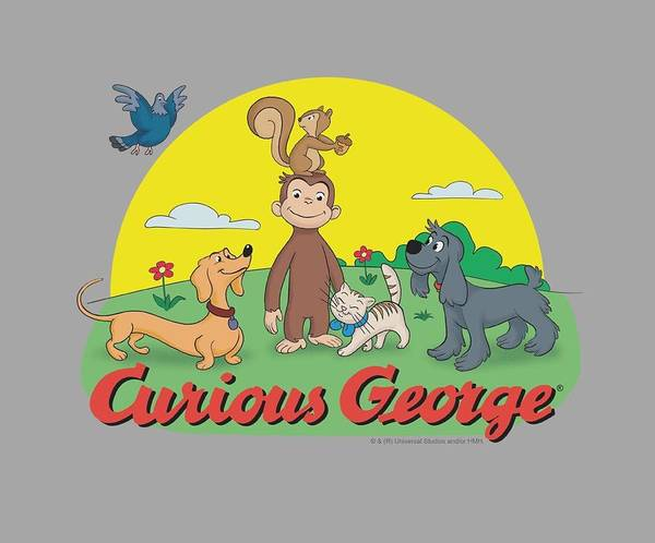Wall Art - Digital Art - Curious George - Sunny Friends by Brand A