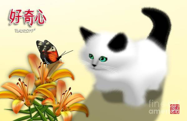 Kanji Digital Art - Curious Kitty And Butterfly by John Wills