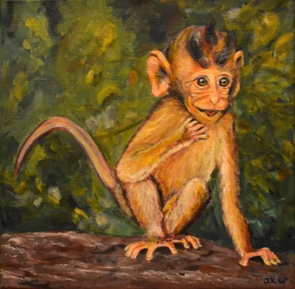 Wall Art - Painting - Curious Monkey by Jennifer Kwon
