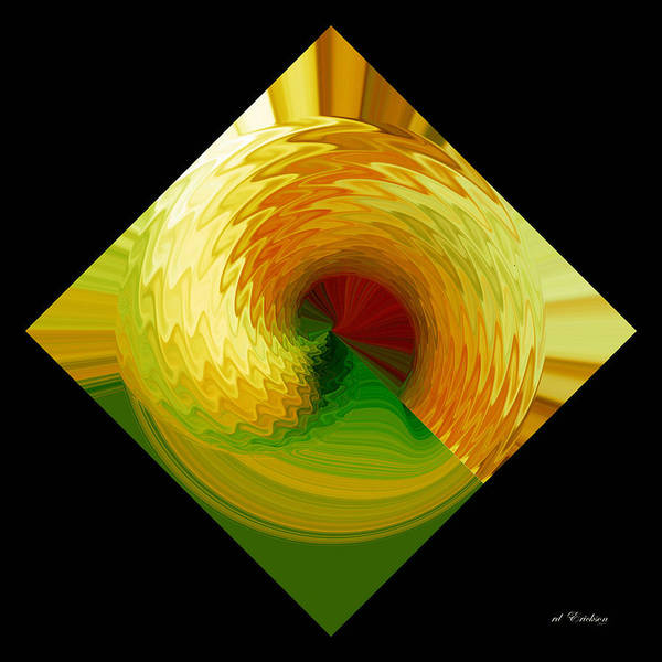 Digital Art - Curl I In Green And Gold by Roy Erickson
