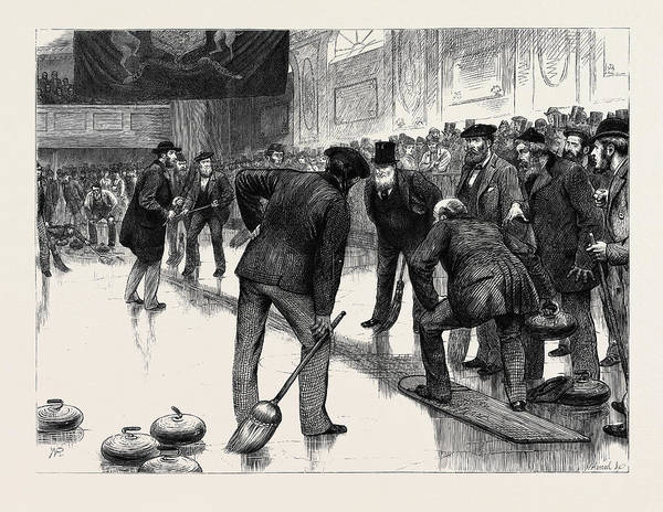 Manchester Drawing - Curling At An Ice Rink by English School
