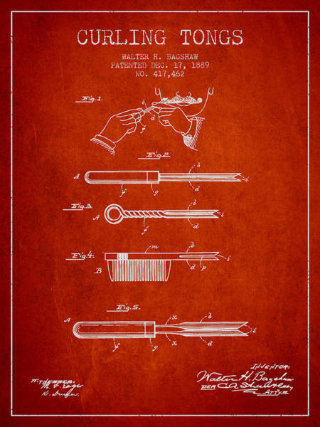 Hair Digital Art - Curling Tongs Patent From 1889 - Red by Aged Pixel