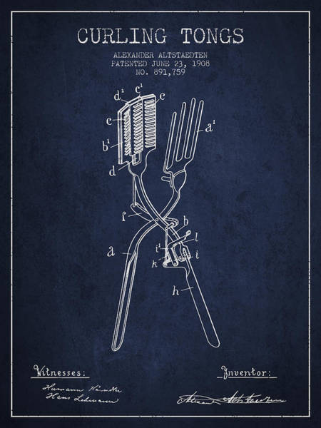 Hair Digital Art - Curling Tongs Patent From 1908 - Navy Blue by Aged Pixel