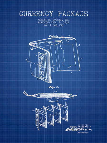 Wallet Wall Art - Digital Art - Currency Package Patent From 1932 - Blueprint by Aged Pixel