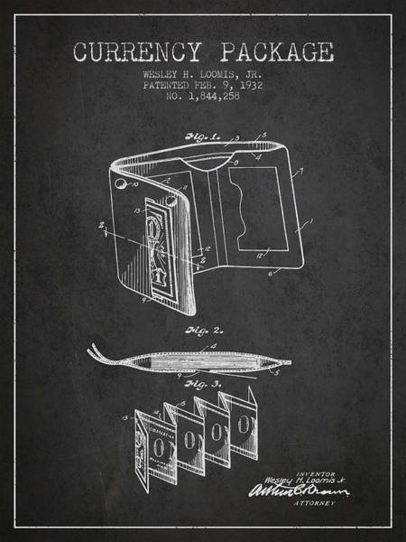 Wallet Wall Art - Digital Art - Currency Package Patent From 1932 - Charcoal by Aged Pixel