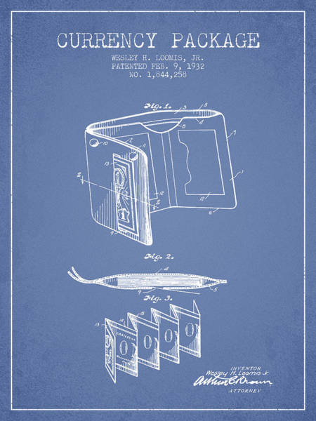 Wallet Wall Art - Digital Art - Currency Package Patent From 1932 - Light Blue by Aged Pixel