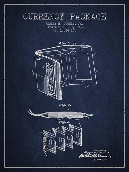 Wallet Wall Art - Digital Art - Currency Package Patent From 1932 - Navy Blue by Aged Pixel