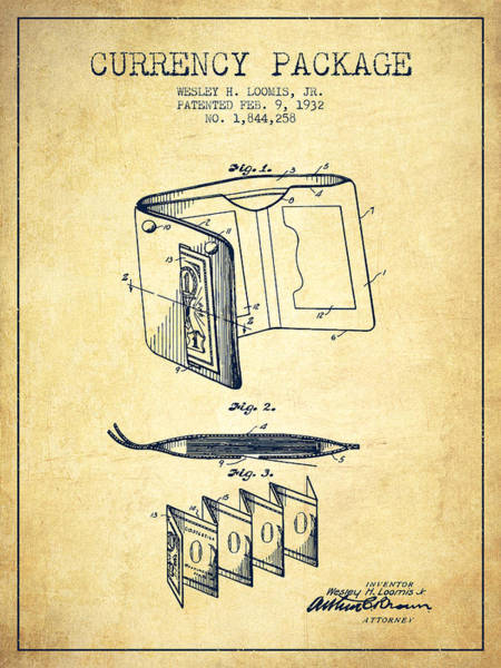 Wallet Wall Art - Digital Art - Currency Package Patent From 1932 - Vintage by Aged Pixel
