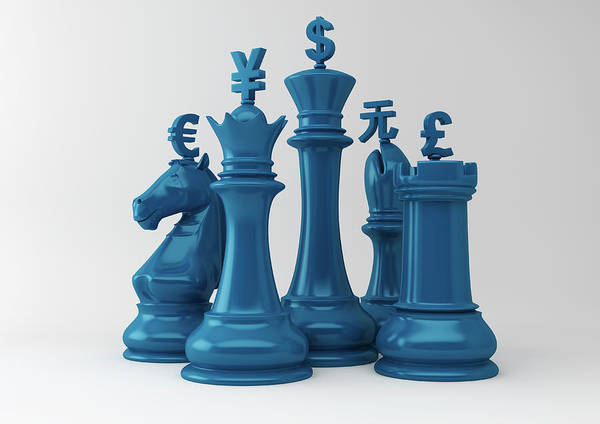 Commercialism Photograph - Currency Symbols On Chess Pieces by Ikon Ikon Images