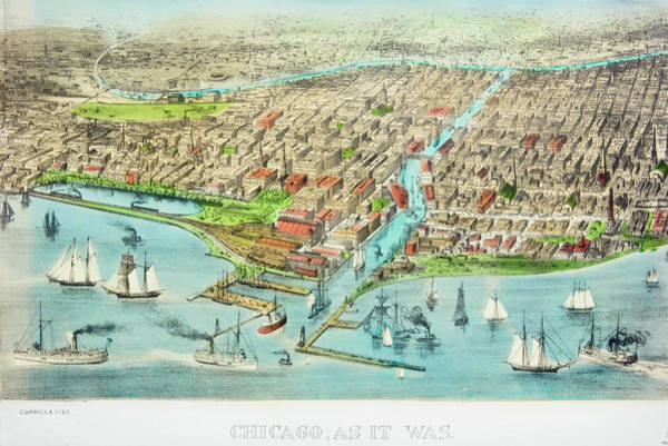 Currier And Ives Painting - Currier & Ives Illustration Of Chicago by Vintage Images