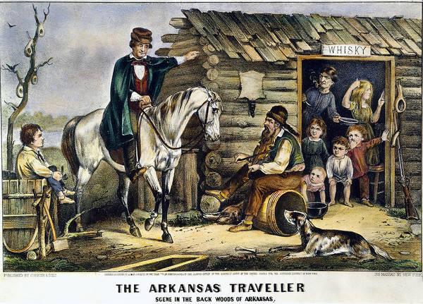 Wall Art - Painting - Currier & Ives The Arkansas Traveler by Granger