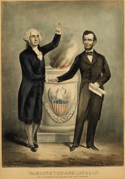 Currier And Ives Painting - Currier And Ives Portrait Of Washington And Lincoln by MotionAge Designs