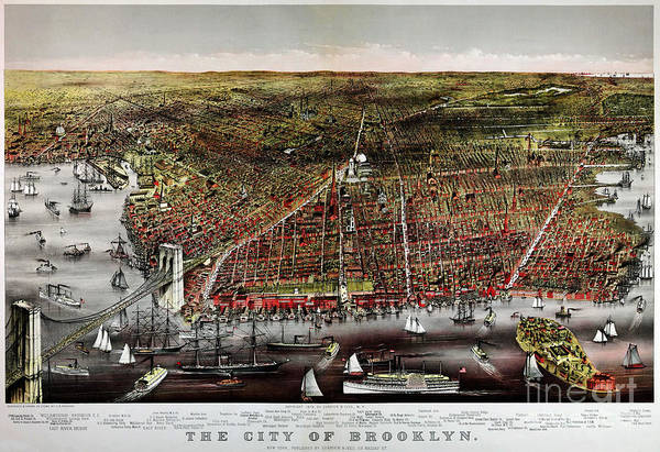 Currier And Ives Painting - Currier And Ives Print Of Brooklyn 1879 by Celestial Images