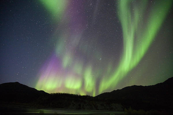 Wind River Range Wall Art - Photograph - Curtains Of Brightly Colored Aurora by Hugh Rose
