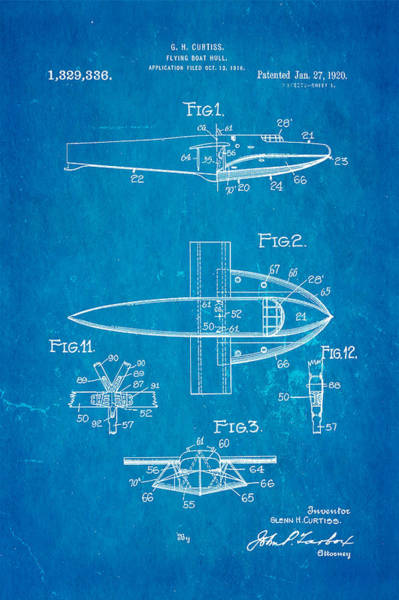Seamen Photograph - Curtiss Flying Boat Patent Art 1920 Blueprint by Ian Monk