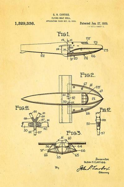 Seamen Photograph - Curtiss Flying Boat Patent Art 1920 by Ian Monk