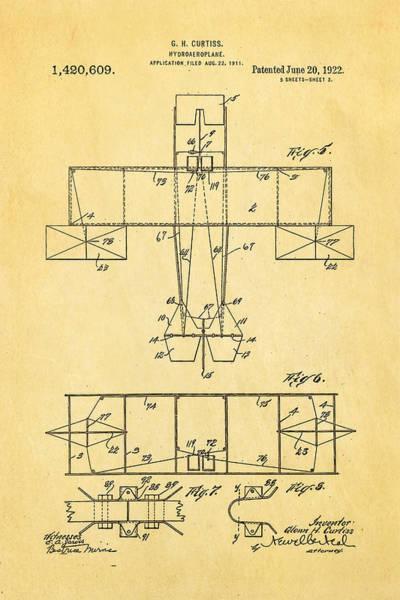 Monk Photograph - Curtiss Hydroaeroplane Patent Art 3 1922 by Ian Monk
