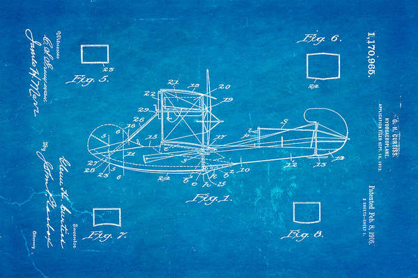 Seamen Photograph - Curtiss Hydroplane Patent Art 1916 Blueprint by Ian Monk