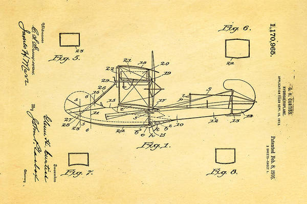 Seamen Photograph - Curtiss Hydroplane Patent Art 1916 by Ian Monk