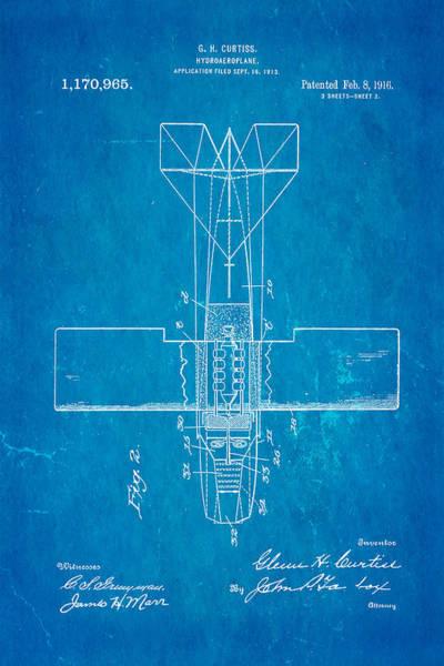 Seamen Photograph - Curtiss Hydroplane Patent Art 2 1916 Blueprint by Ian Monk