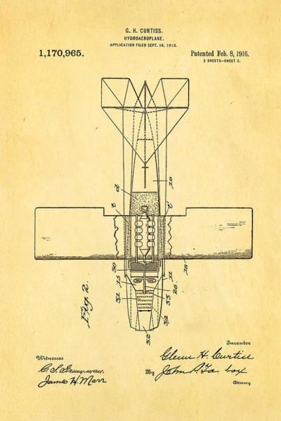 Fitter Photograph - Curtiss Hydroplane Patent Art 2 1916 by Ian Monk