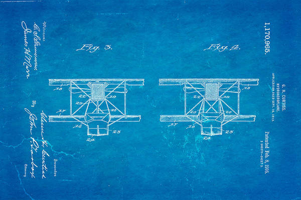 Seamen Photograph - Curtiss Hydroplane Patent Art 3 1916 Blueprint by Ian Monk