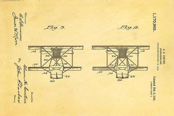 Seamen Photograph - Curtiss Hydroplane Patent Art 3 1916 by Ian Monk