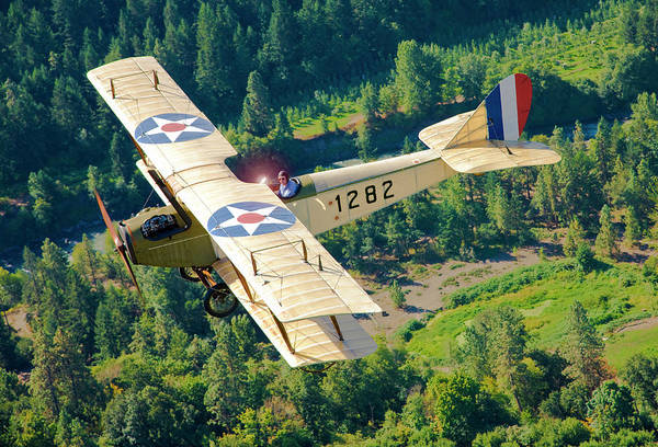 65 Photograph - Curtiss Jenny Flying Over Hood River by Richard Hallman