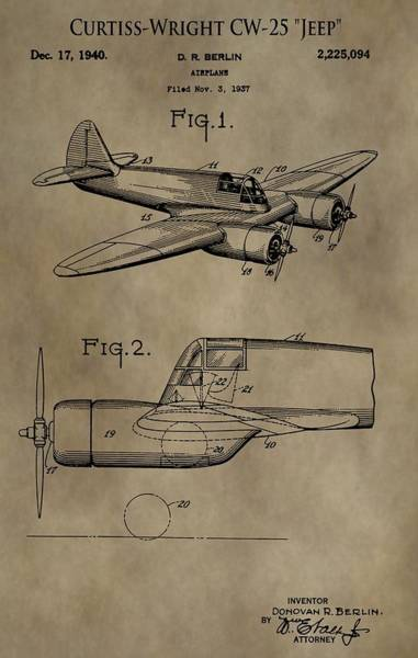 Wall Art - Digital Art - Curtiss-wright Airplane Patent by Dan Sproul