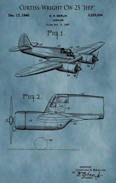 Vintage Airplane Drawing - Curtiss-wright Patent Blue by Dan Sproul