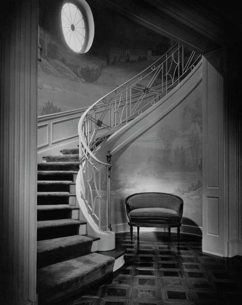 Houses Photograph - Curving Staircase In The Home Of  W. E. Sheppard by Maynard Parker