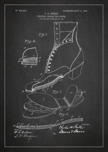 Wall Art - Digital Art - Cushion Insole For Shoes Patent Drawing From 1905 by Aged Pixel