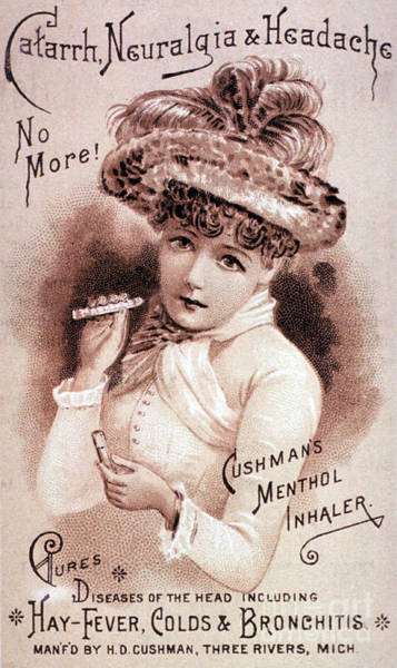 Photograph - Cushmans Menthol Inhaler-headache Cure by Science Source