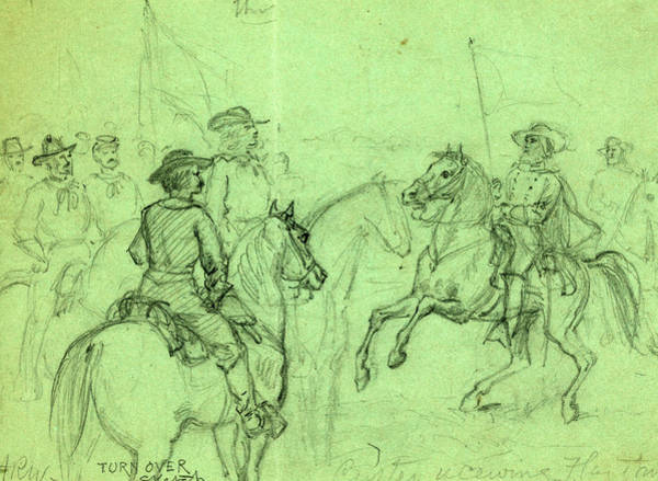 Wall Art - Drawing - Custer Receiving Flag Of Truce, Drawing, 1862-1865 by Quint Lox