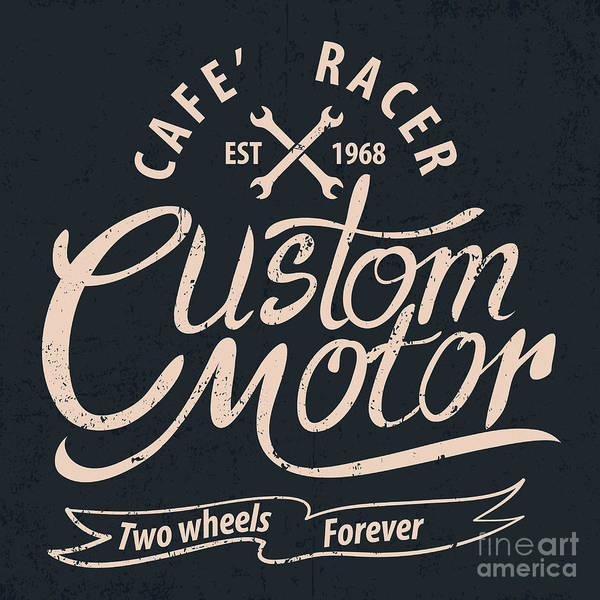 Biker Wall Art - Digital Art - Custom Motor Typographic For by Vextor Studio