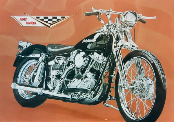 Pan Head Painting - Harley Davidson Custom Pan Head Springer by Mark Zelenkovich